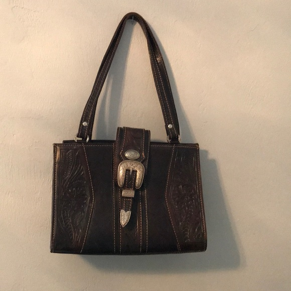 3b65f71845a American West tooled leather handbag / purse